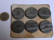6 large  wooden grey  buttons
