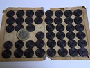 44 early plastic  purple-aubergine buttons.