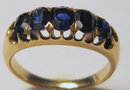 Antique Edwardian 5 Stone Sapphire 18k Gold  Ring 1910