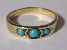 Antique English 15k Gold Turquiose Ring 1910