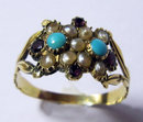 Antique English 15k Gold  & Gemset  Dress Ring 1840
