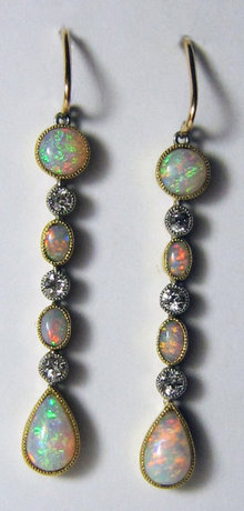 Pr Antique Edwardian Opal & Diamond Drop Earrings 1905
