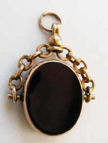 Antique English Stone 9k Bloodstone & Carnelian Gold Swivel Seal Fob Chester 1913