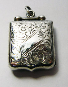Antique English Edwardian Silver Dumbell & Shield Shaped Locket . Chester 1902