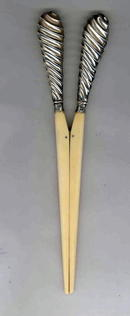 Antique English Victorian Silver & Ivory Glove Stretchers