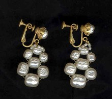 Vintage Miriam Haskell Imitation Pearl Drop Earrings