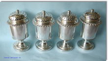 Set of 4 Rare Antique Colonial Indian Silver  Muffin / Muffineers by Hamilton & Co. 1810 Calcutta