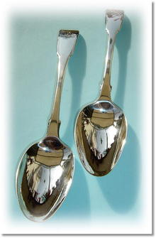 Pr  Silver Fiddle Patt Dessert Spoons by William Bateman