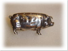 Antique Silver Pig Pin Cushion