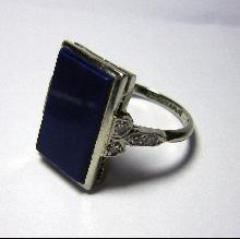 Exquisite 1935 Art Deco Lapis and Diamond Plaque Ring