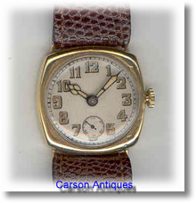 Gents 9k Gold Cushion Shaped Dress Strap Watch