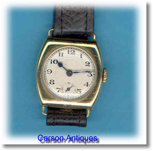 Vintage Gents Cushion Shaped 18k Gold Dress Watch