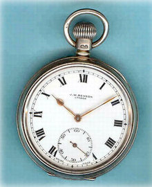 Silver Open Face Pocket Watch by J W Benson 1920