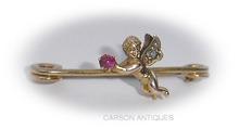 Antique Gold  Ruby & Diamond CHERUB Pin / Brooch 1890