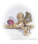 Antique Gold  Ruby & Diamond CHERUB Pin / Brooch 1890