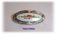 CHARLES HORNER Silver & Floral Enamel Oval Brooch 1913