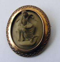 Antique  Lava Cameo Gold  Brooch of a Lady 1865