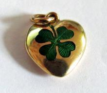 Antique Yellow 15k Gold and Enamel Lucky Four Leaf Clover Pendant / Charm 1915