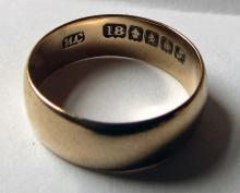 Antique Scottish 18k Gold Wedding Band 1916