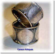 Pr Antique South Africa Silver Kruger 1-Shilling Napkin Rings 1894 – 1897