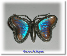 Beautiful Vintage English Silver Morpho Butterfly Brooch