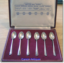 Set 6 British Hall Marks Silver Tea Spoons in Case