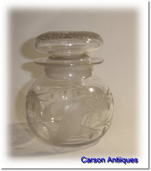 Antique 19th Century Engraved Glass Pickle Jar