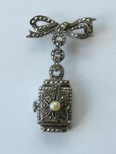 Ladys Vintage Bucherer Silver / Marcasite Pendant Fob Watch