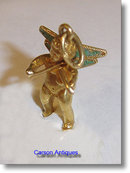 Vintage 18k Gold Enamelled Violin Playing Cherub Pendant / Charm 1965