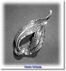 Vintage English Silver  & Marcasite Scroll Brooch 1957