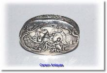 Antique Silver Japanese  Scene Pill Box 1899