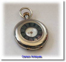1890 Miniature Swiss Silver Half  Hunter Pocket Watch