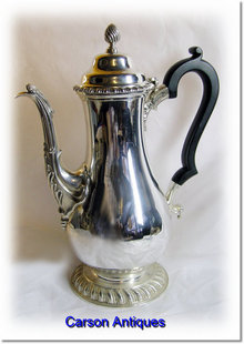 Antique English Silver Bellied Coffee Pot 1918