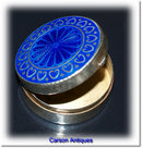 Antique English Edwardian Silver and Blue Enamel Pillbox 1908