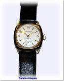 Vintage Gents 9k Gold Cushion Shaped Strap Watch 1965
