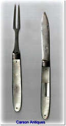Georgian Silver & Mother of Pearl Fruit Knife & Fork in Case. Circa 1790