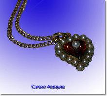 Antique English 15ct Yellow Gold Paisley Pearl & Enamel Heart Pendant & Chain 1890