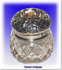 Antique Victorian English Miniature Silver & Crystal Dressing Table Pot 1897