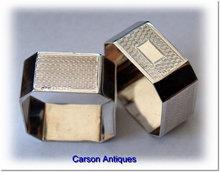 Pr Vintage English Silver Square Cut-Corner Napkin Rings 1929