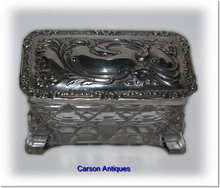 Antique English Silver Lidded Top & Crystal Dressing Table Trinket Box. 1904