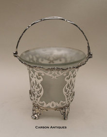 Antique EnglishVictorian Silver Hand Pierced Swing Handle Sugar Basket 1859