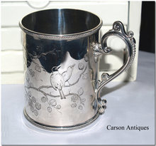 Antique English Victorian Silver Aesthetic half Pint straight sided Childs Mug 1879