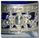 Pr Oval English Sterling Silver Cherub Salt Cellars with Blue Glass Liners