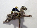 Enamel and Diamond Jockey & Horse Stick Pin 1900