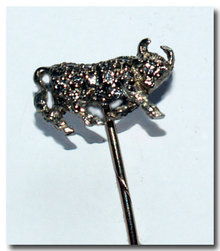 Antique English Diamond Bull  Stickpin 1900