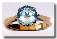 Single stone round faceted Light blue Aquamarine 18k  Gold Ring