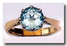 Single stone round faceted Light blue Aquamarine 18k  Gold Ring