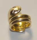 Antique Irish Dublin 18k Gold 3 coil Snake/Serpent Ring 1880