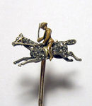 Antique Enamel Cavalry Man & Diamond Horse Stickpin 1905