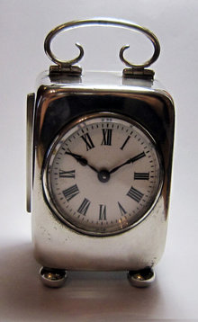 Antique Edwardian English Silver Carriage Clock 1905